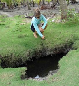 "Imagen mirando un agujero en la isla para recolectar agua ""dulce"""