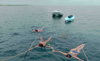 Fotografía de tres personas remolcadas en la popa del velero a 1-2nudos
