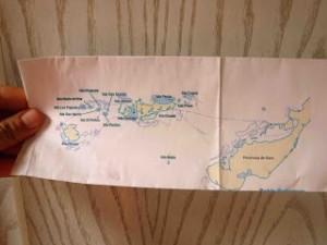 Foto del mapa de las Islas del Rosario