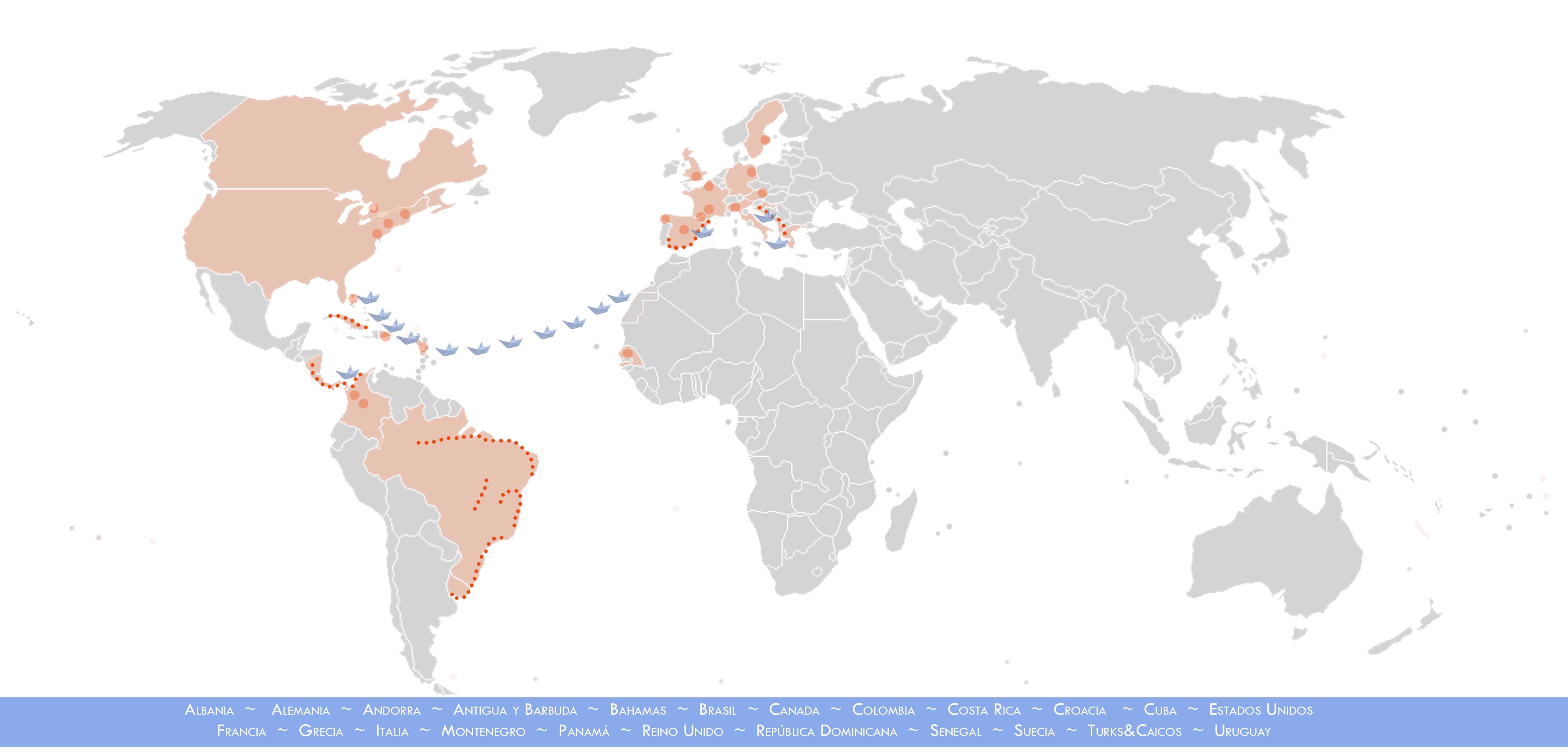 Mapa viajes Allende los mares