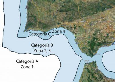 Categoría A, B, C. Zona de navegación 1, 2, 3, 4